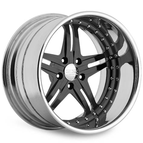 ZE Forged Friction, Shown in 5-lug with optional accent rivets and Gloss Black Powdercoat Center